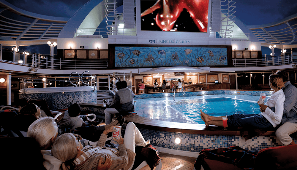 Ourdoor movie screening onboard a Princess Cruises ship