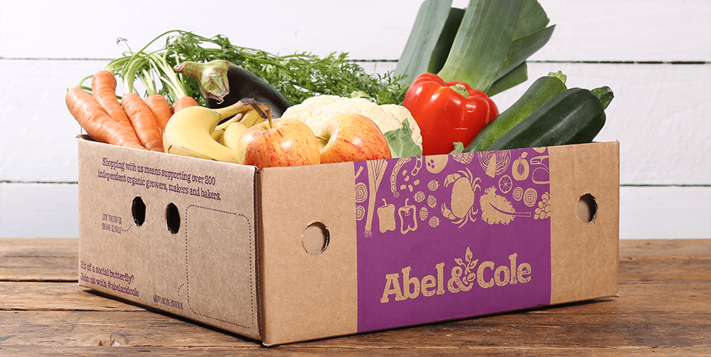 Abel & Cole box packed with vegetables