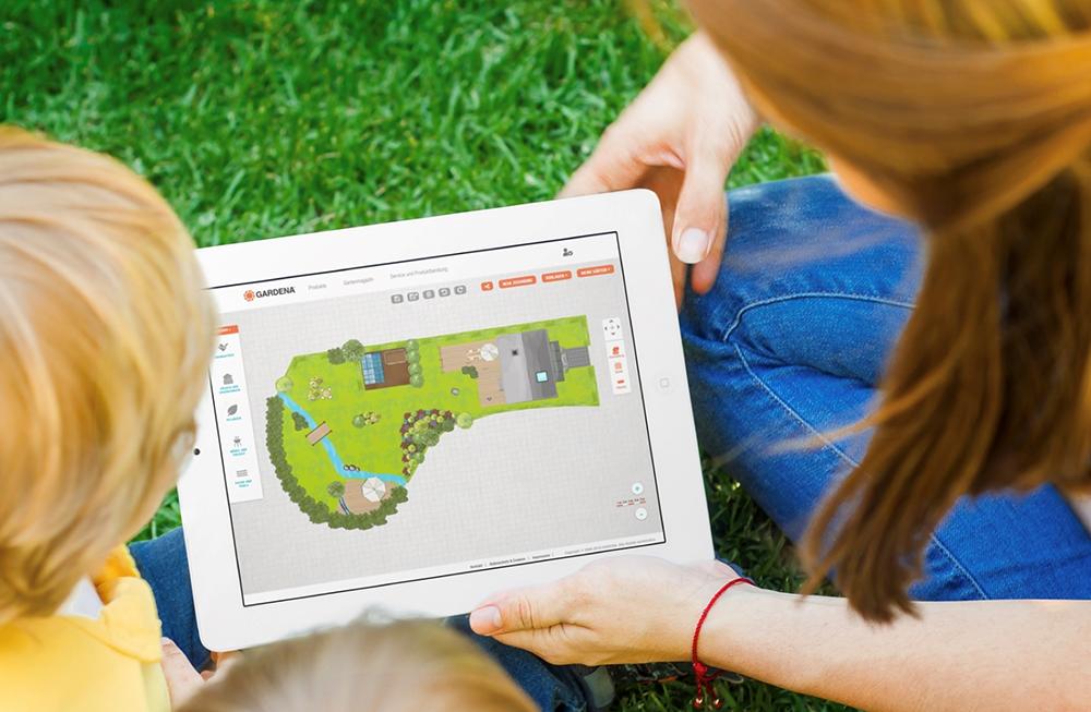 Gardena free online planning tool on Ipad