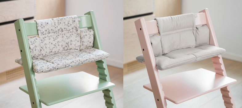 Two Tripp Tapp highchairs in different colours