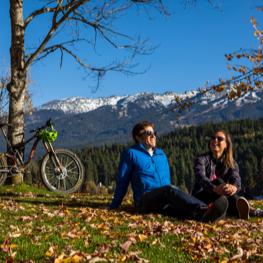 Hikers taking in the Whistler scenery