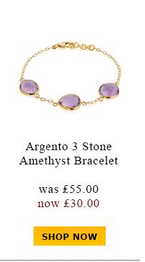 Argento 3 Stone amethyst bracelet was £55.00 now £30.00
