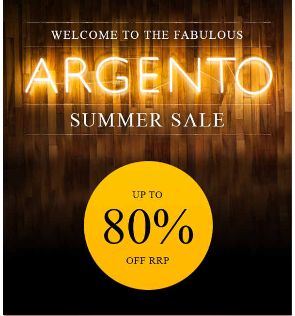 Welcome to the fabulous Argento Summer Sale. Up to 80% off