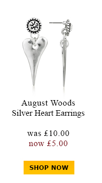 August Woods Silver Heart Earrings was £10.00 now £5.00