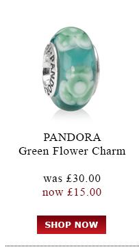 Pandora Green Flower Charm was £30.00<br /> now £15.00