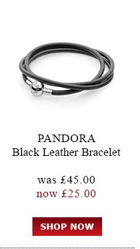 Pandora. Black Leather Bracelet was<br /> £45.00 now £25.00