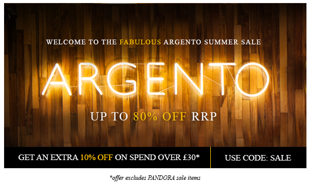 Welcome to the fabulous Argento summer sale. Up to 80% off rrp. Get an extra 10% off on spend over £30. Use code: SALE *offer excludes PANDORA sale items